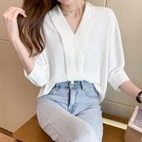 new womens solid color white chiffon shirt female loose half sleeve v collar shirts lady simple style tops 2021
