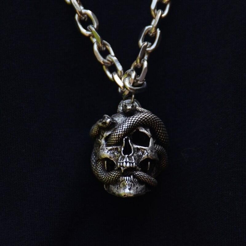 Vintage kafatası yılan kolye kolye Medusa yılan kafatası Wiccan kolye gotik Pagan takı