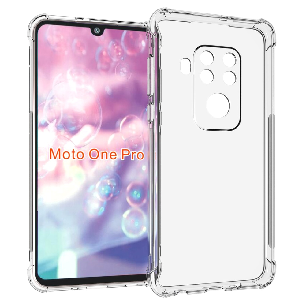 Para Motorola Moto One funda de Zoom Airbags Buffer funda de protección completa para Moto One Pro funda transparente suave TPU a prueba de golpes contraportada