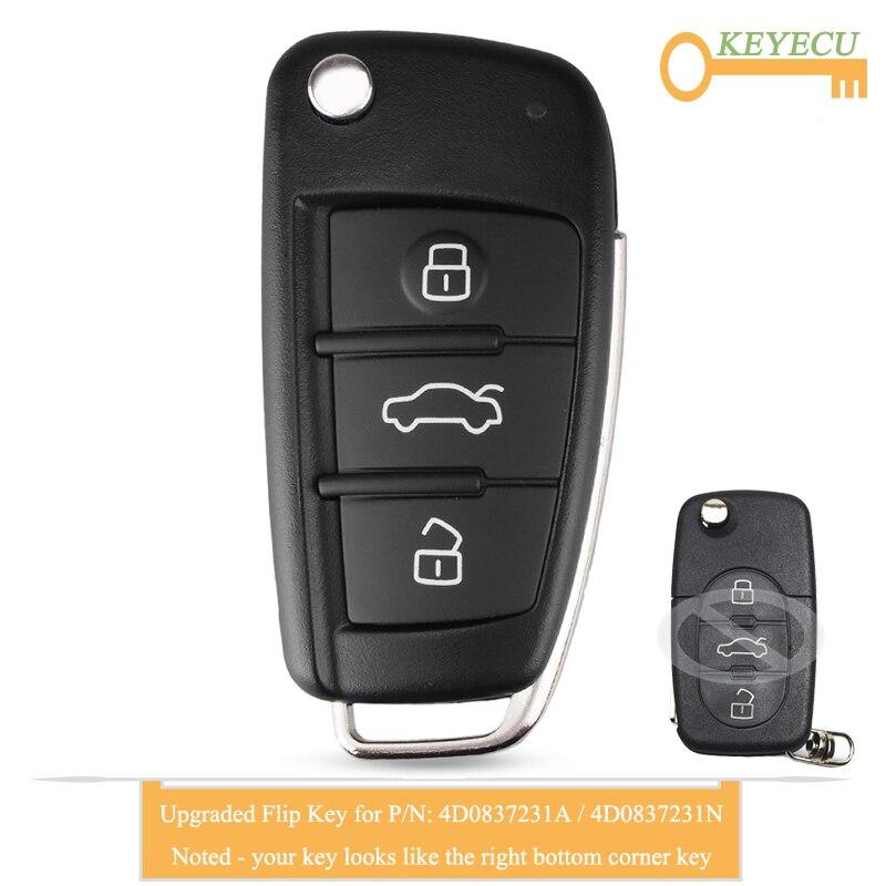 Llave de coche con tapa y control remoto para Audi A3 A4 A6 A8 modelos antiguos, Fob 3 Botón-433 MHz-Chip ID48-4D0837231A/4D0837231N