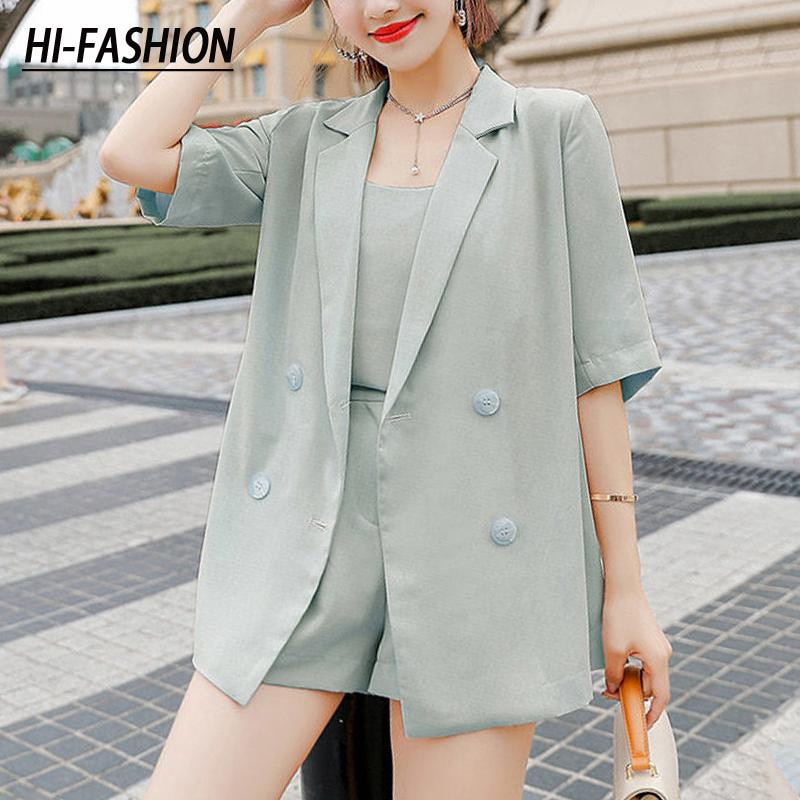 Women Blazer Two-Piece Suit Double Breasted High Street Female Shorts Set Business Office Ladies