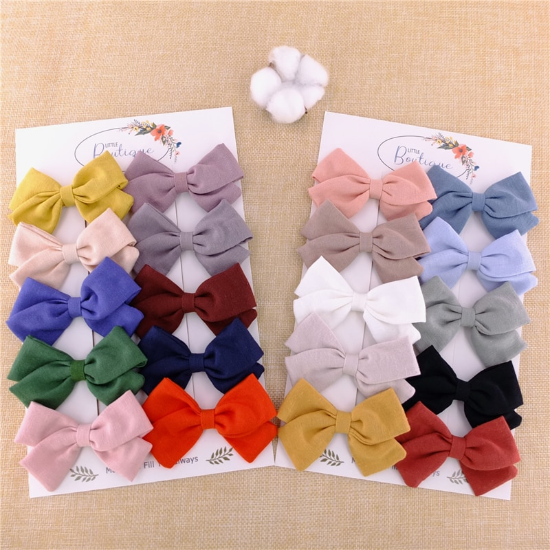 10 PCS Cotton Linen Hair Bow Fully Wrapped Alligator Clips Barrettes for Toddler Baby Girls Kids Mom Hairgrips Hair Accessories