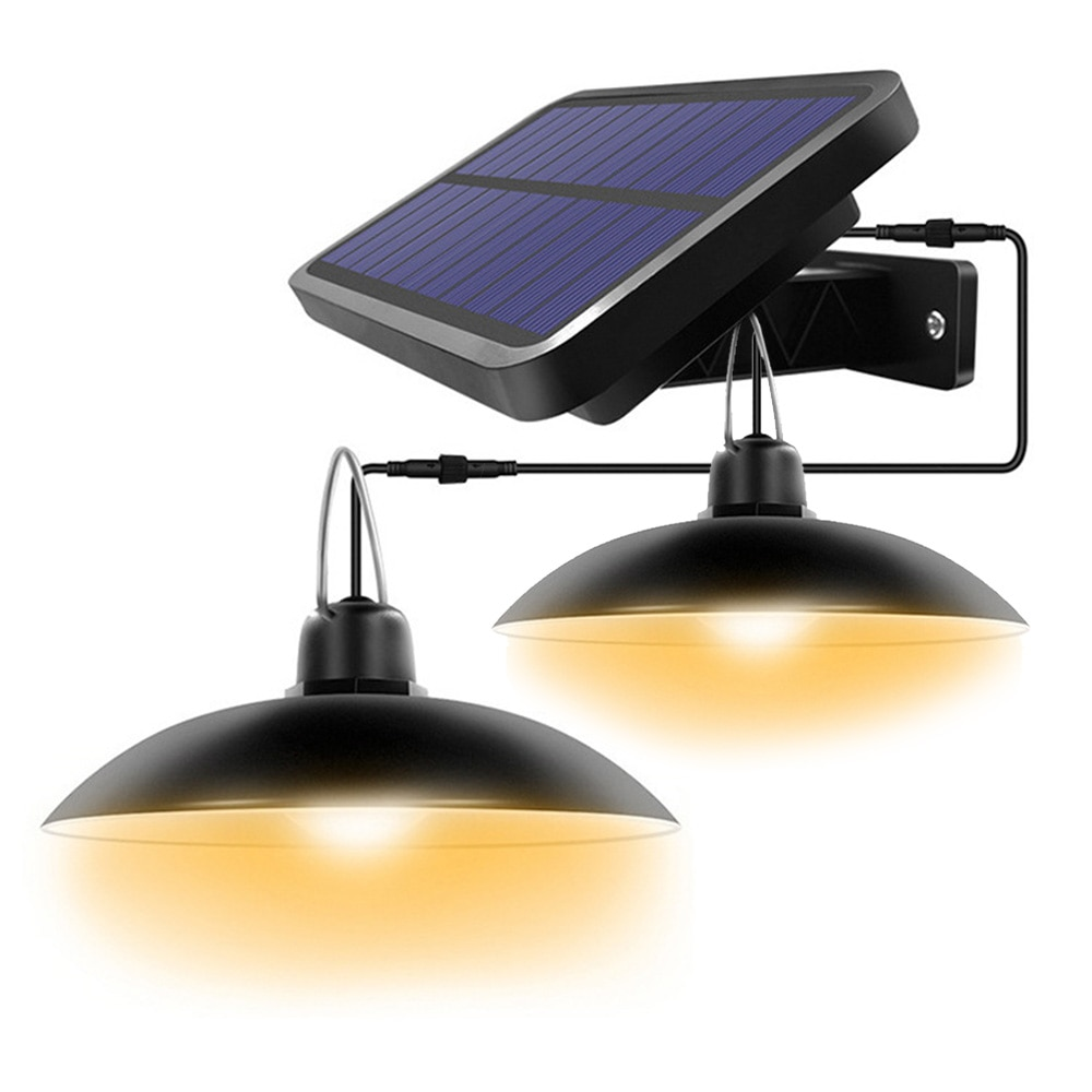 Double Head Solar Pendant Light Outdoor Indoor Solar Lamp With Line Warm White/White Lighting For Camping Garden Yard