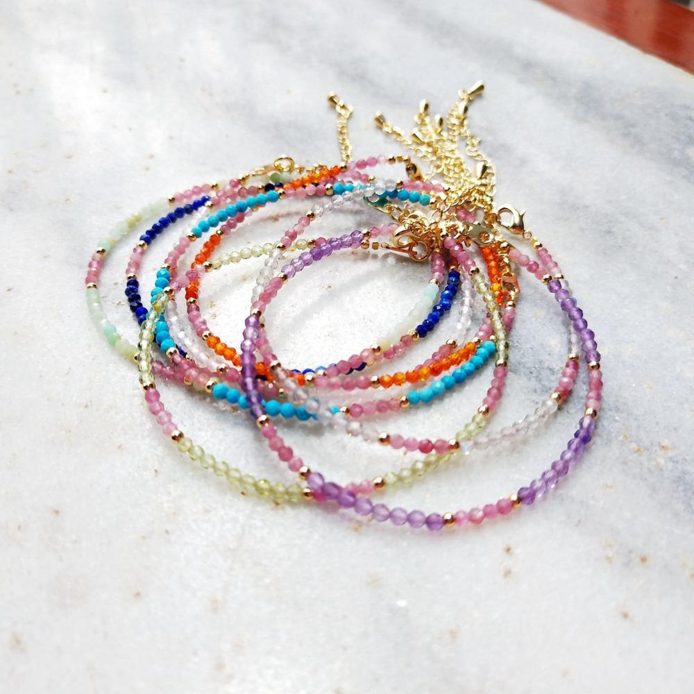 Lii Ji pulsera multicolor Piedra Natural lapislázuli peridoto labradorita Rosa turmalina teñido Color turquesa pulsera 1 Uds