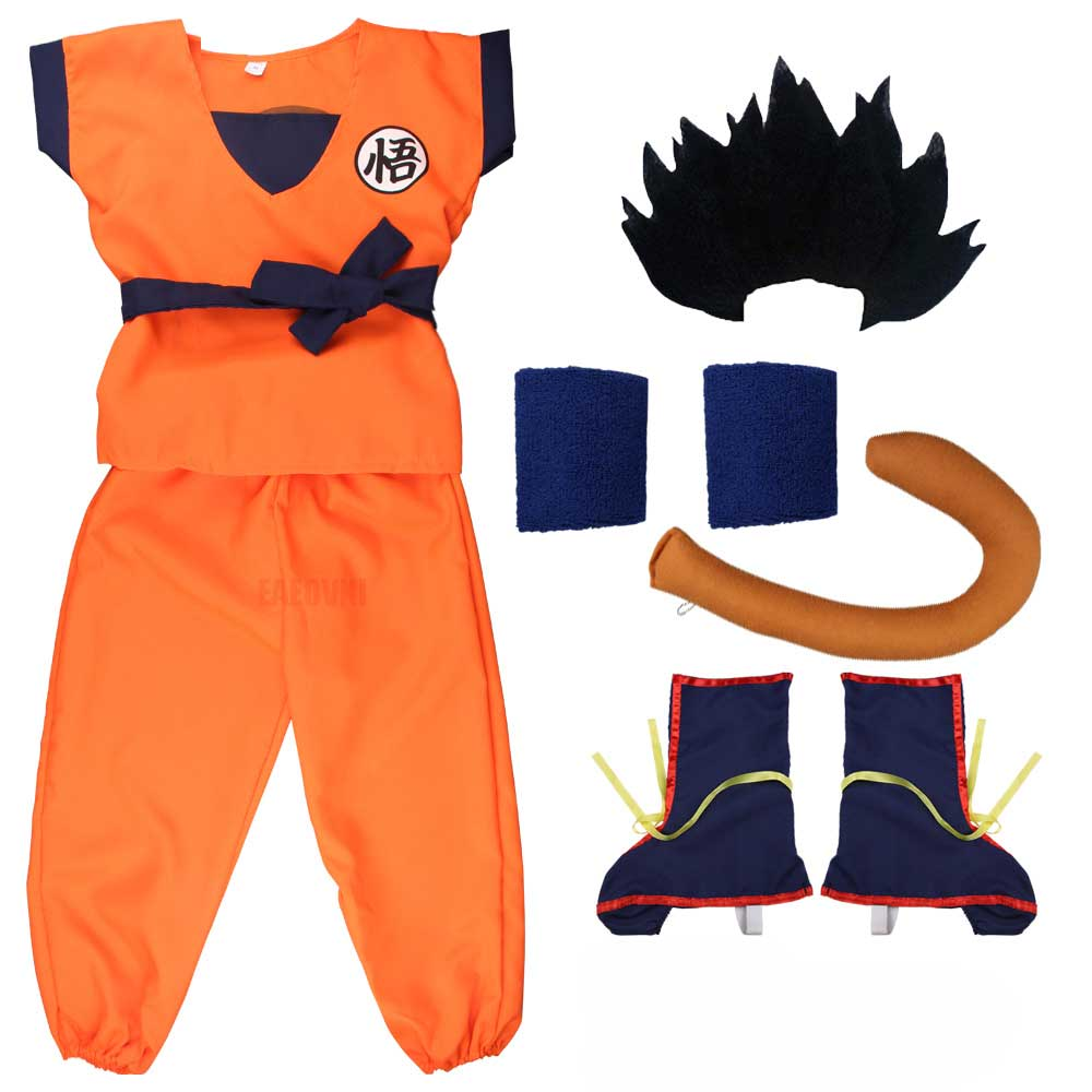 Adult Children Son Goku Gui Carnival Anime Cosplay Costumes Men Boys Jumpsuit Tail Wrister Wig Suit Anime Costume