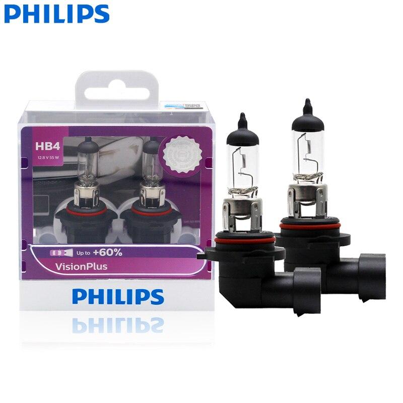 Faro halógeno para coche Philips 9006 HB4 VisionPlus 12V 55W P22d, luz brillante VP + 60% más, Bombilla Original para coche 9006VPS2, 2X