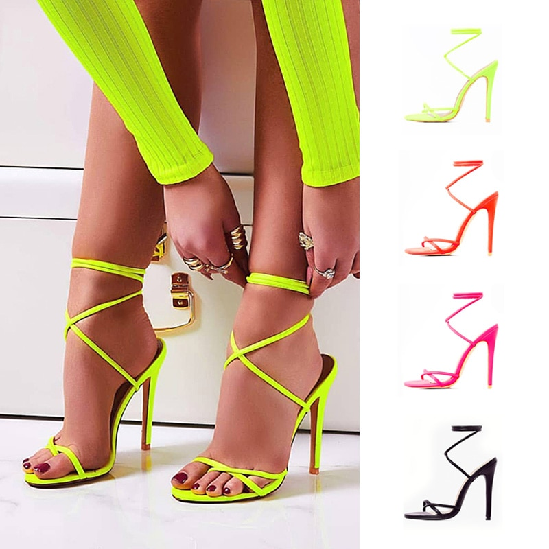 2019 European Summer Sandals Candy Color Point Toe Lace Ankle Strap Party High Heels Pumps 11.5cm Hi