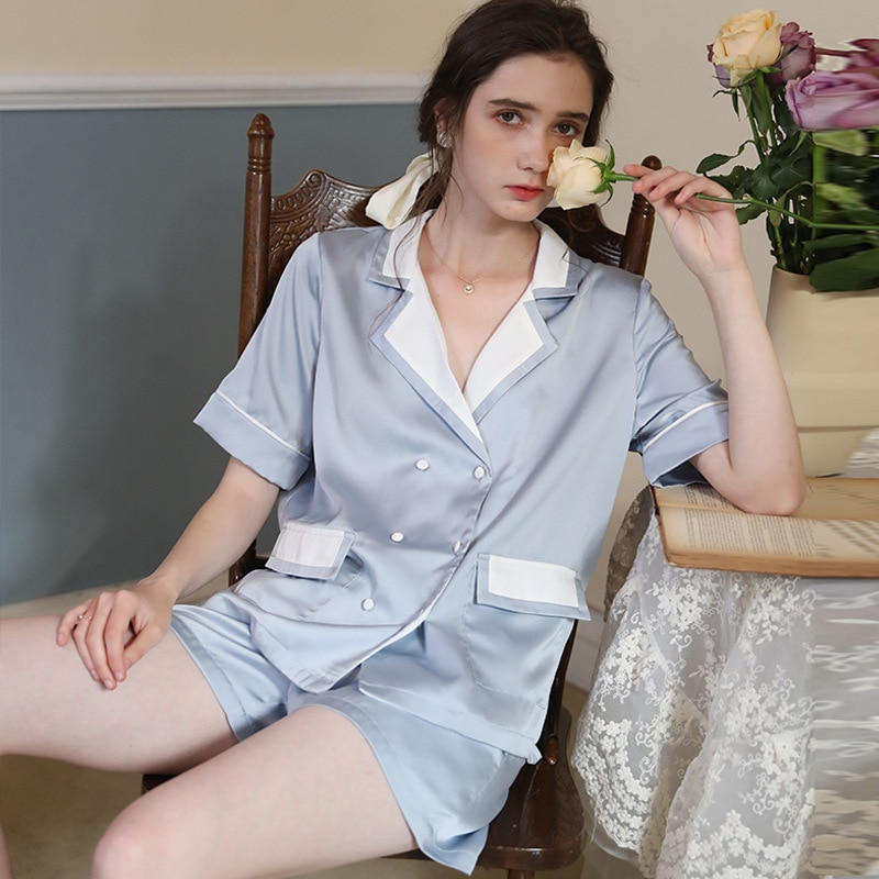 French women's ice silk summer short-sleeved pajamas two-piece loose spring and autumn thin silk home clothes
