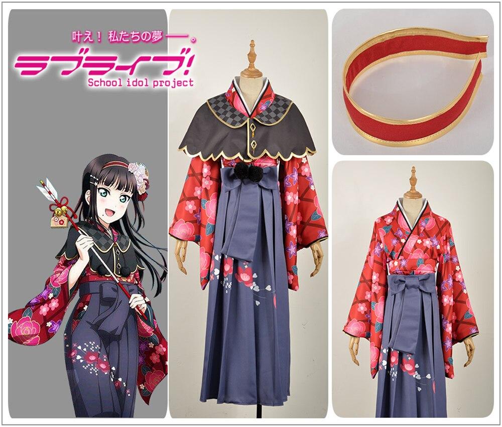 ¡Juego LoveLive! sol! Kurosawa Dia Cosplay traje personalizado mujer vestido Taisho Kimono tradicional capa falda peluca