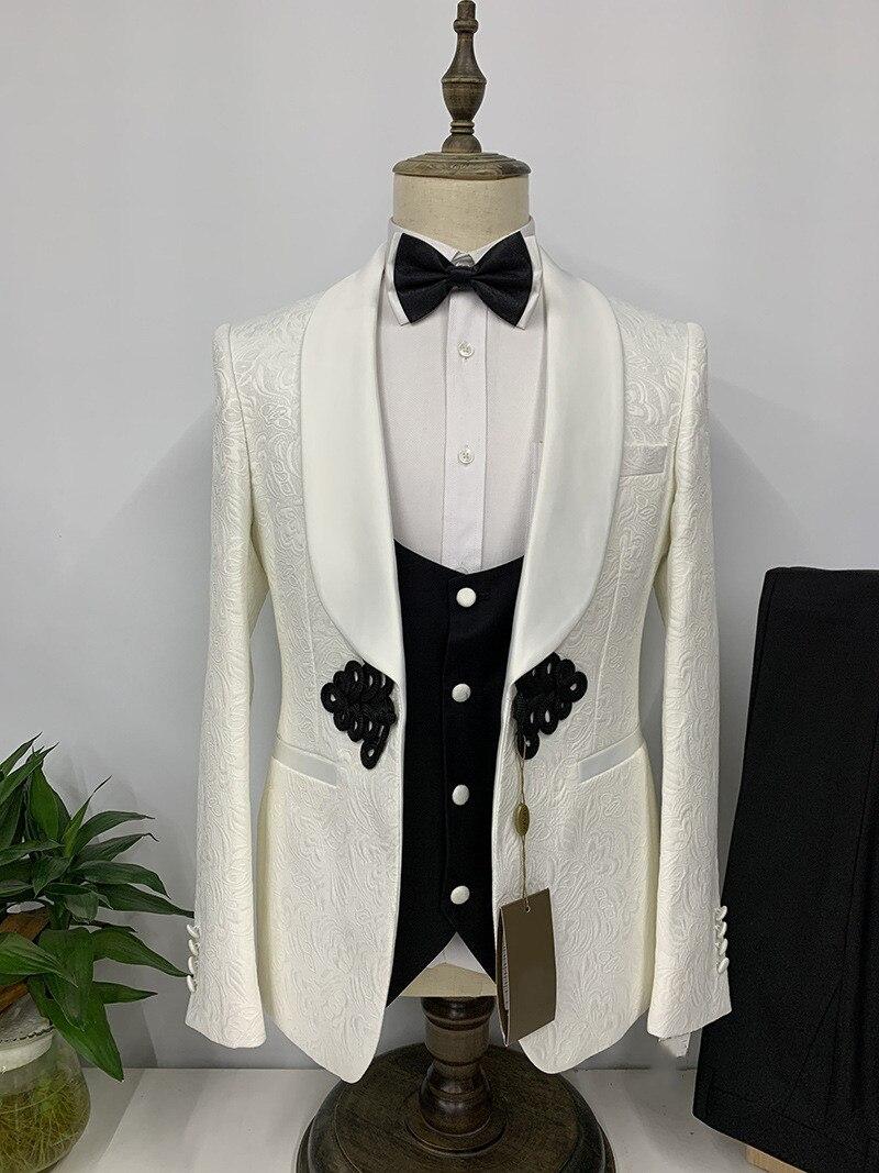 خياط صنع العاج الجاكار نسج بدل زفاف الرجال 3-piece الذكور الرسمي حجم كبير سهرة العريس سترة الموضة عادية بانت