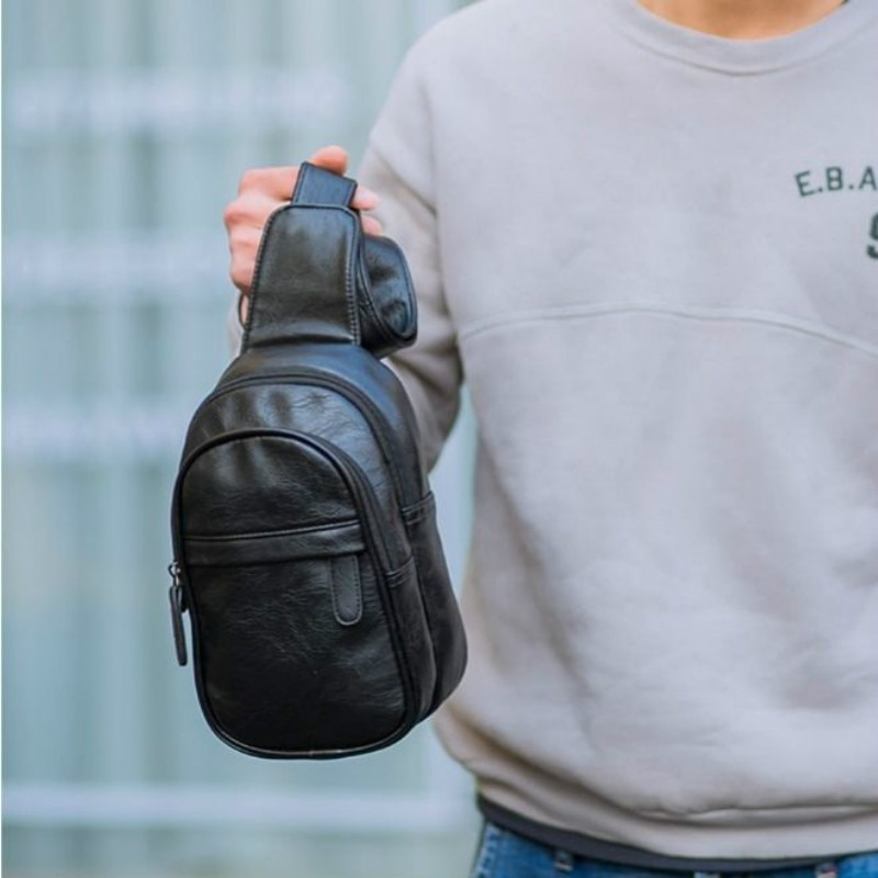 Fashion Simple Men's Small Chest Bag Messenger Bag Men's Korean Fashion Casual Soft Leather Shoulder Bag Outdoor Sports Backpack fashion trend casual lychee pattern backpack 2020 college suede small backpack single shoulder bag messenger handbag
