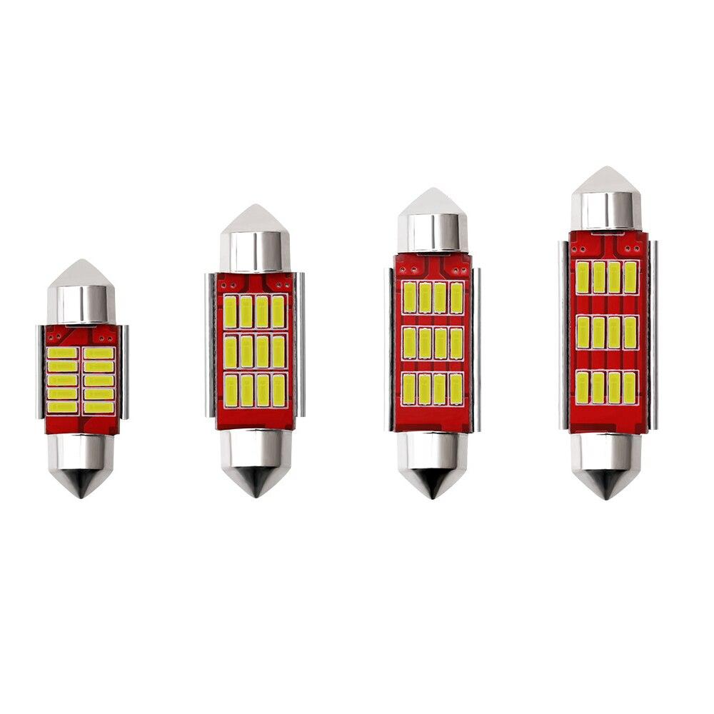 2x4014 C10W C5W светодиодный Canbus гирлянда 31 мм 36 мм/39 мм/41 мм для автомобильной лампы Интерьер Чтение светильник фонарь освещения номерного знака б...