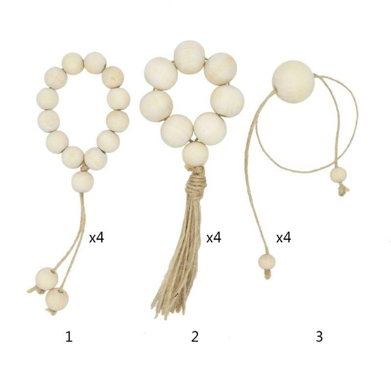 4 pièces/ensemble guirlande de perles en bois avec glands perles de ferme tenture murale rustique