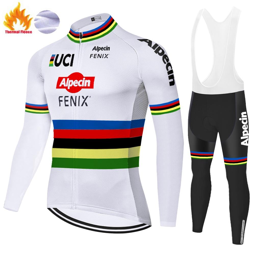 New alpecin fenix cycling jersey winter thermal fleece malliot ciclismo  20D gel mountain bike cycling pants ropa de hombre 2020