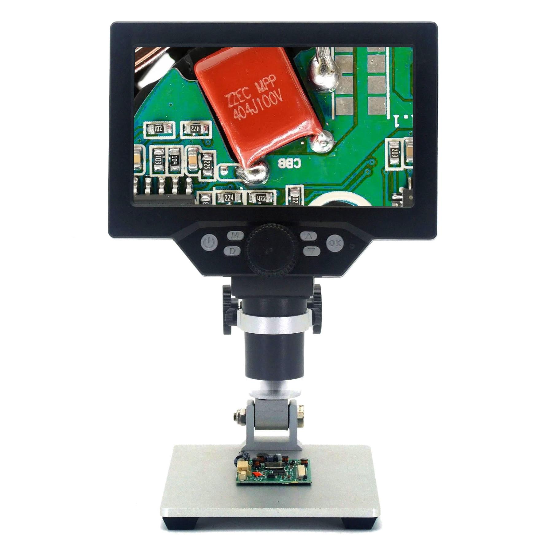 "12mp eletrônico microscópio digital 7 ""display lcd usb vídeo microscopio lupa para pcb placa-mãe reparação inspeção de laboratório"