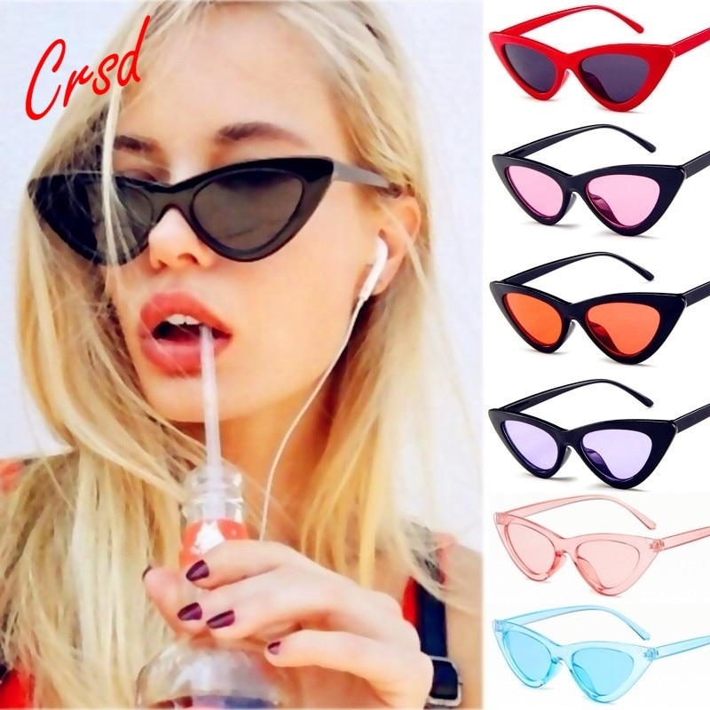 CRSD Cute Sexy Retro Cat Eye Sunglasses Women Small Black Transparent Pink Triangle Vintage Cheap Su