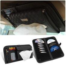Multi-fonction en cuir pare-soleil voiture support de stockage véhicule poche organisateur boîte à mouchoirs CD stockage dossier carte didentité sac