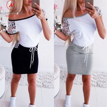 Mode femmes Mini robe couleur correspondant Design poches décor o-cou manches courtes robe crayon élégante dame mince robe de pansement