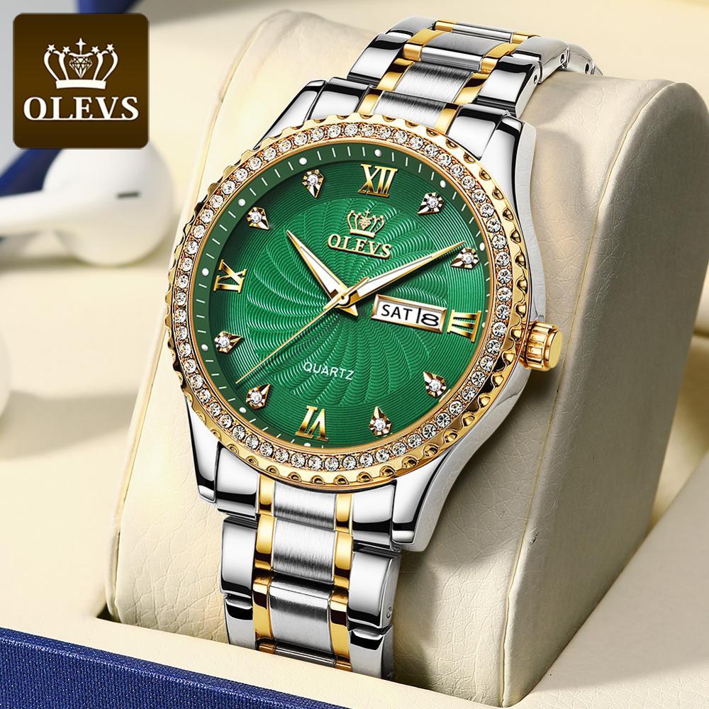 OLEVS ساعة رجالي موضة مزاجه الذهب الماس ساعة الطلب ساعة الأعمال مقاوم للماء التقويم ساعة رياضية