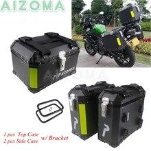1 Set Motorcycle Top Case Aluminum Side Box For KAWASAKI SUZUKI YAMAHA BMW R1200  Luggage Sidecases Cargo Topbox w/ Bracket Rack