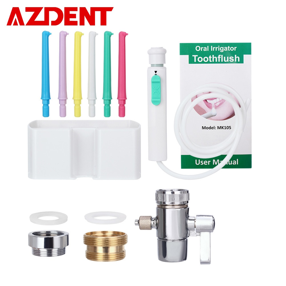 AZDENT-صنبور تنظيف الأسنان مع مفتاح ، جهاز ري الفم بالماء ، تطبيق الري ، نفاث واحد ، منظف أسنان عائلي ، 6 رؤوس
