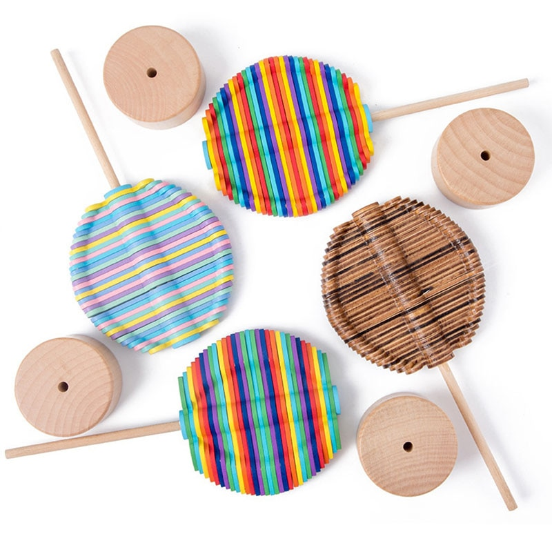 Montessori Wooden Toy Rotating Lollipop Creative Decoration Decompression Toys Decompression Stick Creative Toy Gift enlarge