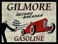vintage poster series gilmore the record breaker in gasoline rustic style automotive metallic tin sign poster printed bar
