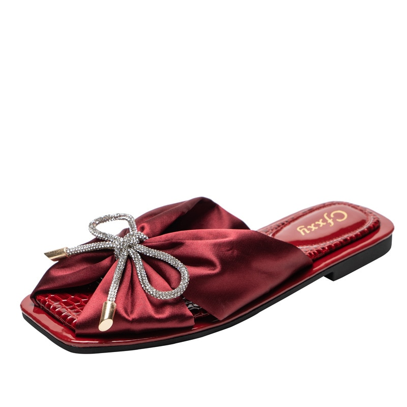2021 Summer Women Slippers Silk Bow Slippers Flats Open Toe Outdoor Fashion Causal Sandals Comfortable Red Shoes Plus Size 42