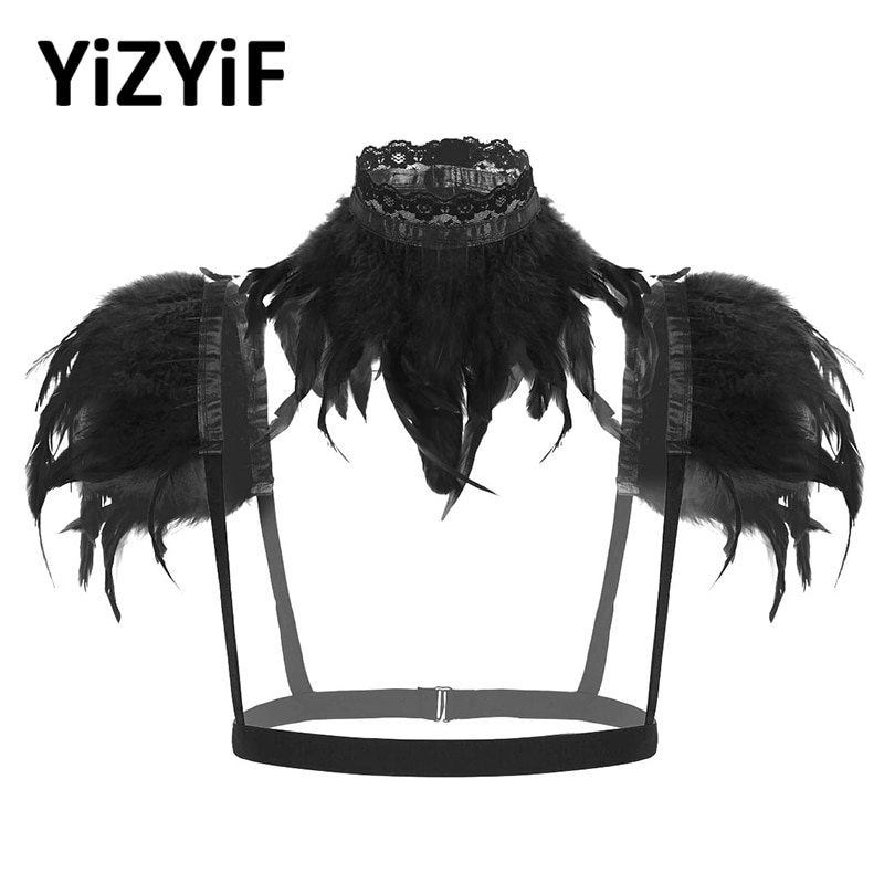 Feather Shawl Cape Collar Women Gothic Victorian Natural Feather Shrug Shawl Shoulder Wrap Cape Halloween Costume Rave Party