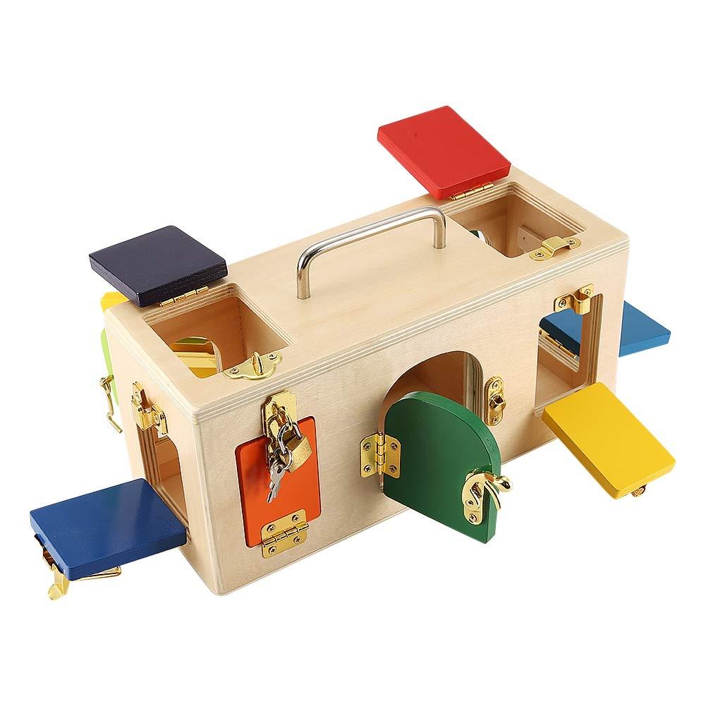 Caja de bloqueo de colores pestillos de madera tablero niños juguetes educativos de entrenamiento preescolar aumentan la interacción entre los padres y