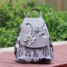 New Style retro Elephant Pattern Backpack Rope Woven Cotton And Linen Women's Leisure Travel Zipper