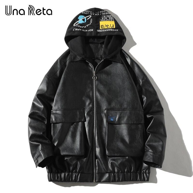 Jaqueta de couro una reta masculina, casaco de couro preto com capuz e estampa, streetwear, hip hop jaqueta de motociclista