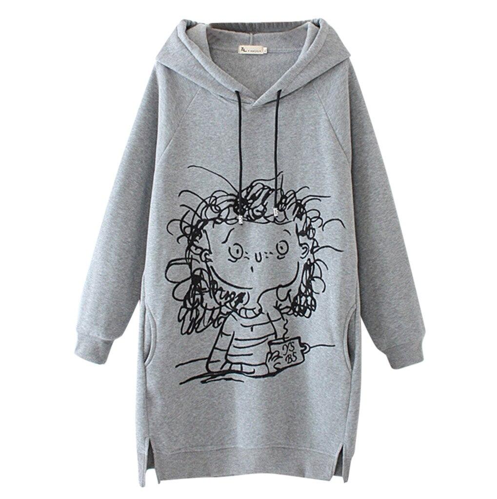 Jaycosin Cartoon Girl Print Drawstring Sweatshirt Women Hot Selling Pullovers Hoodies Long Sleeve Re