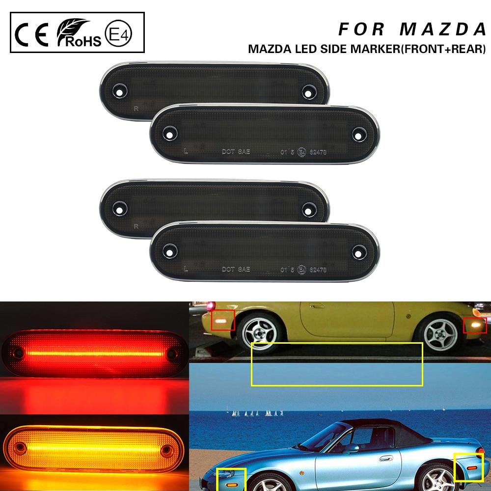 4Pcs For Mazda Miata Mx-5 NA NB 1990-2005 Smoke Front+Rear LED Side Marker Light Lamp Amber/Red LED Driver Corner/Park Lamp