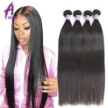 Feixes de tecer cabelo reto malaio lidar 100% cabelo humano 3/4 pacotes alimice remy extensões de cabelo 8-28 Polegada cor natural