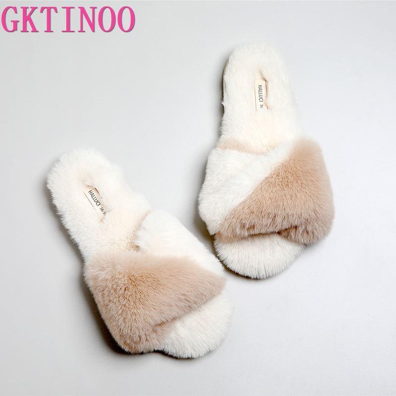 GKTINOO Qualität Japanischen Hause Schuhe Frauen Hausschuhe Weichem Plüsch Warme Peep Zehe Flip-Flops Gummi Schlafzimmer Nicht-slip Frauen Schuhe