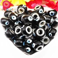 10 pcs 16x10mm 10 colors evil eye lampwork glass murano charms large hole spacer beads for jewelry making women bracelet bangle