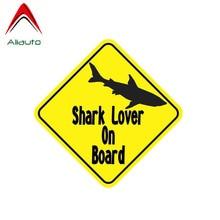 Aliauto Warning Car Sticker Creative Shark Lover on Board Cover Scratch Decal Accessories PVC for Vw Beetle Honda Crv,13cm*13cm