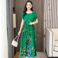 printed oversize long dress women short sleeve dresses female 2021 new summer casual lady vestidos