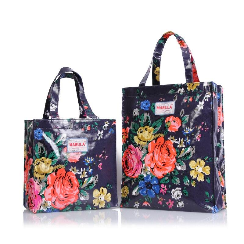 Bolso de compras reutilizable de Lona de PVC Original bolso de compras de flores respetuoso con el medio ambiente bolso impermeable bolso de almuerzo Bolso grande de hombro