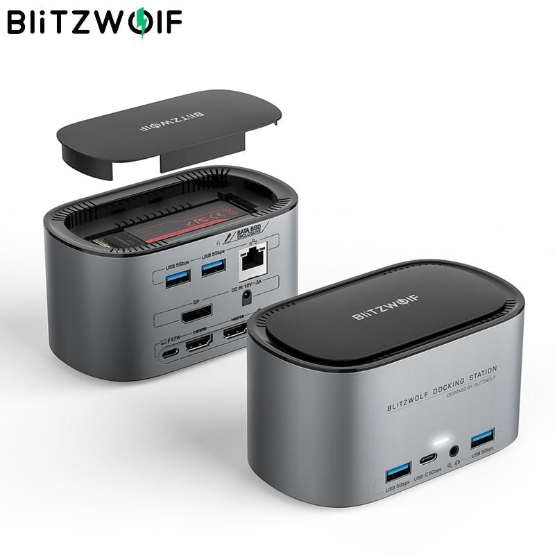 BlitzWolf BW-TH12 14-في-1 محطة الإرساء متعددة منفذ USB Hub مع M.2 SATA 3.0 NGFF SSD الضميمة HD 4K USB 3.0 1000 برميل/الثانية RJ45