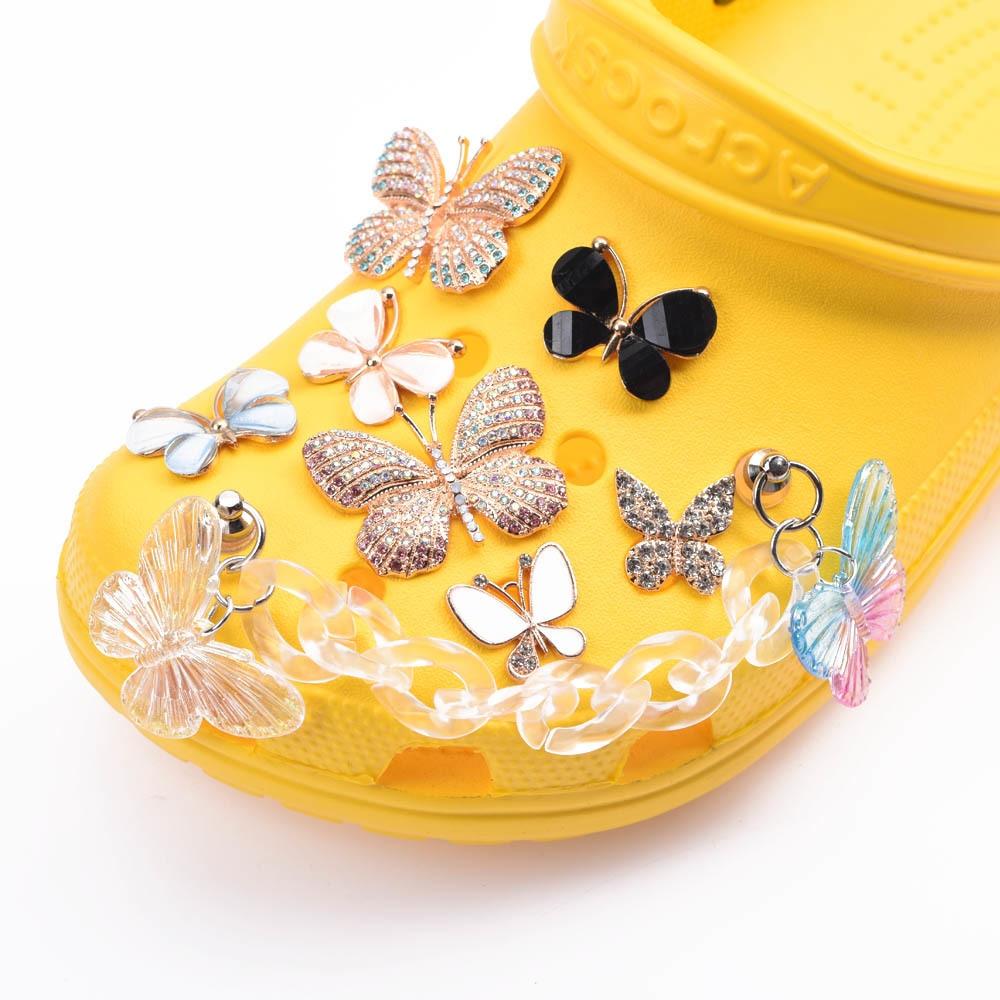 AliExpress - Metal Sets Rhinestone Croc Shoe Charms Metal Chain Shoe Accessories Girl Bracelet Shinny Wristband Bling Pearl Decorations Gift