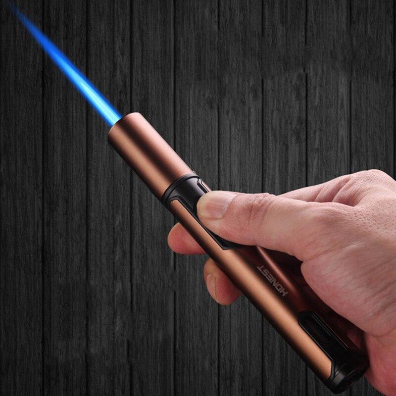 HONEST Pen Spray Gun Kitchen Welding Gun Turbo Windproof Cigar Pipe Lighter Spray Butane Candle Lighter Metal Gas Gadgetry Man