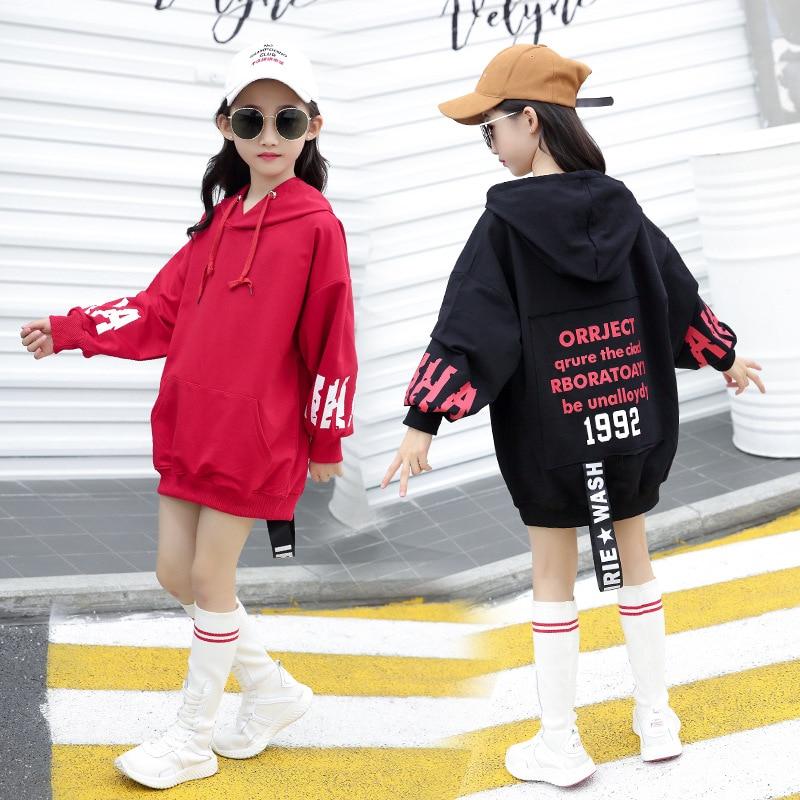 2019 primavera y otoño sudaderas para niños nuevo estilo para niñas estilo coreano con letras en la espalda Big Boy Mid-length sudaderas y Ho