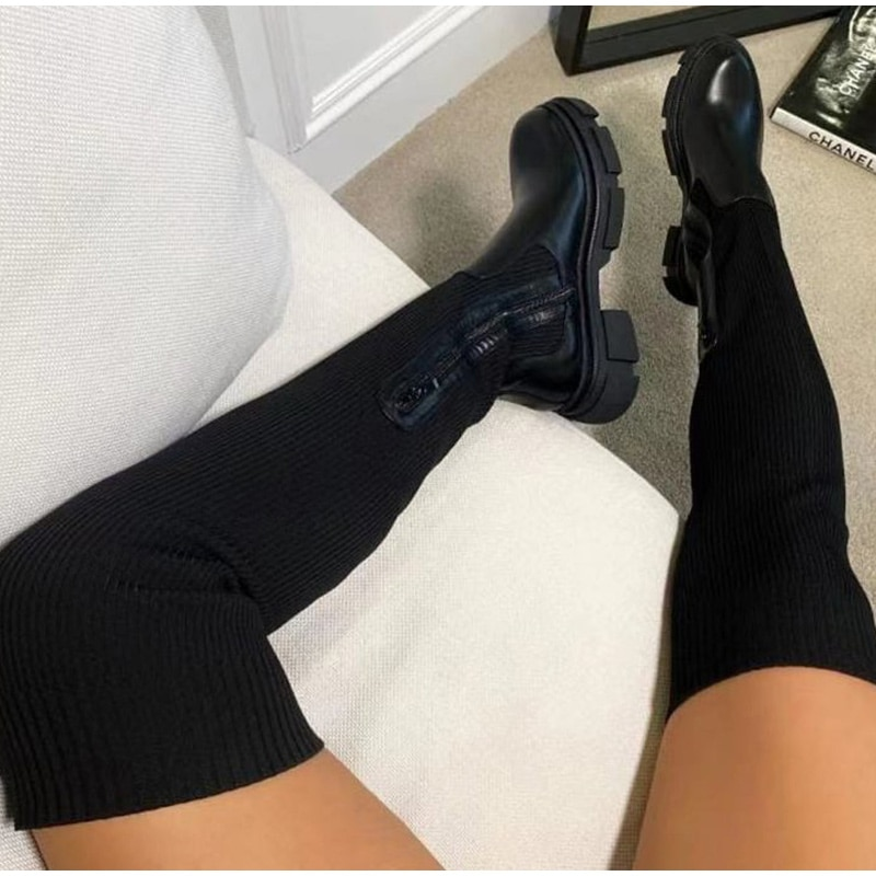 Women Long Boots Stretch Knitting Sock Shoes Autumn Ladies Over The Knee Boots Thick Heels Zipper Pl