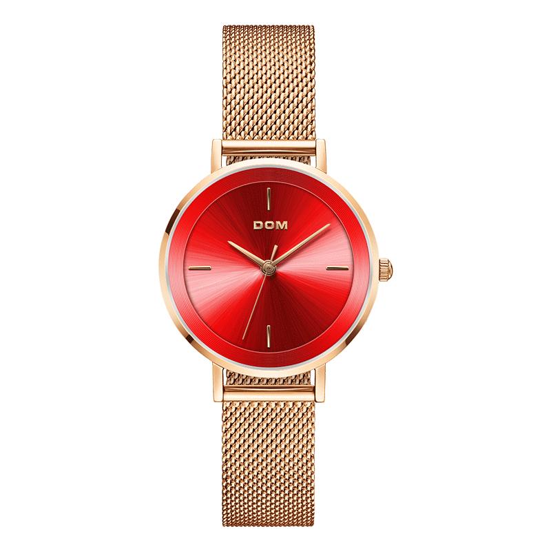 Watch Women DOM Top Brand Luxury Quartz watch Casual quartz-watch leather Mesh strap ultra thin clock Relog G-1307G-7M enlarge