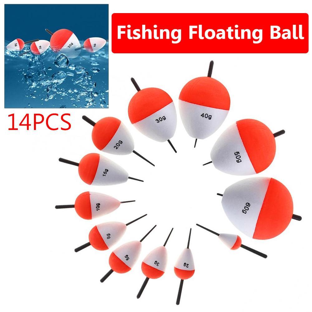 14 pçs flutuador de pesca de espuma vertical mar pesca flutuadores bóia vara peixe equipamento ferramentas acessório