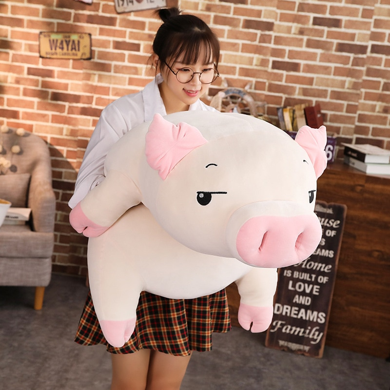 40-75cm Squishy Pig Stuffed Doll Lying Plush Piggy Toy Animal Soft Plushie Hand Warmer Pillow Blanket Kids Baby Comforting Gift недорого