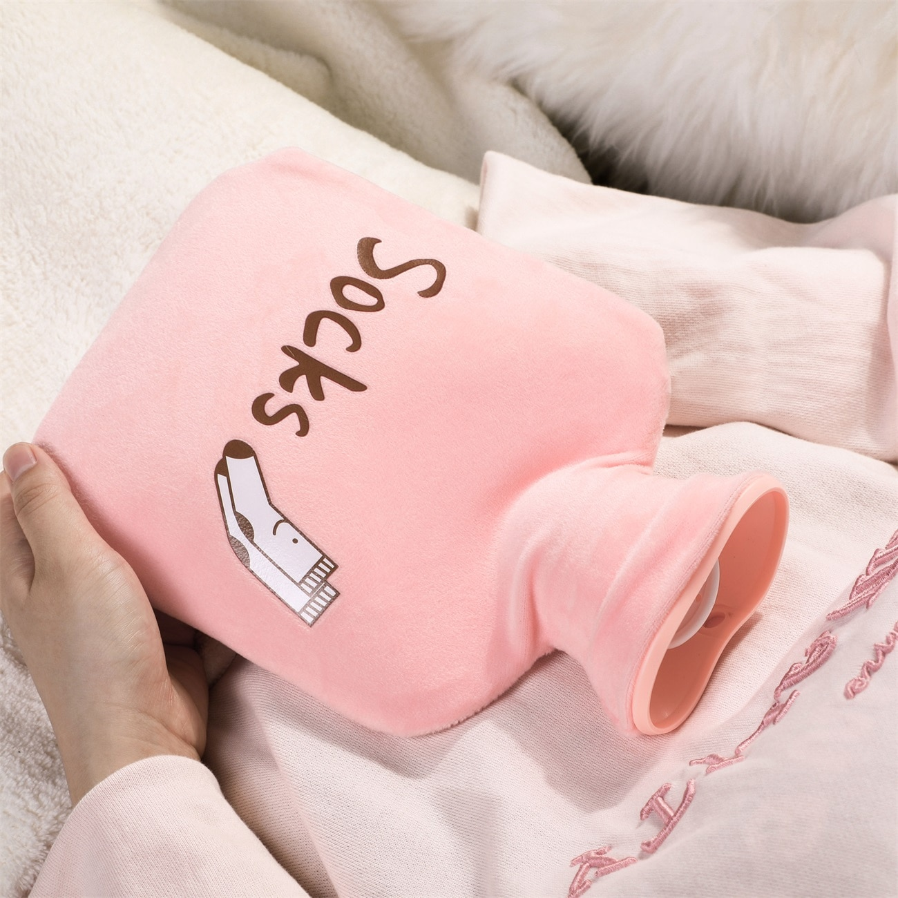 Cute Hot Water Bottle Bag for Girls Plush Shoulder Hand Warmer Heat Pack Warm Belly Instant Hot Pack Winter Water Heating Pad enlarge