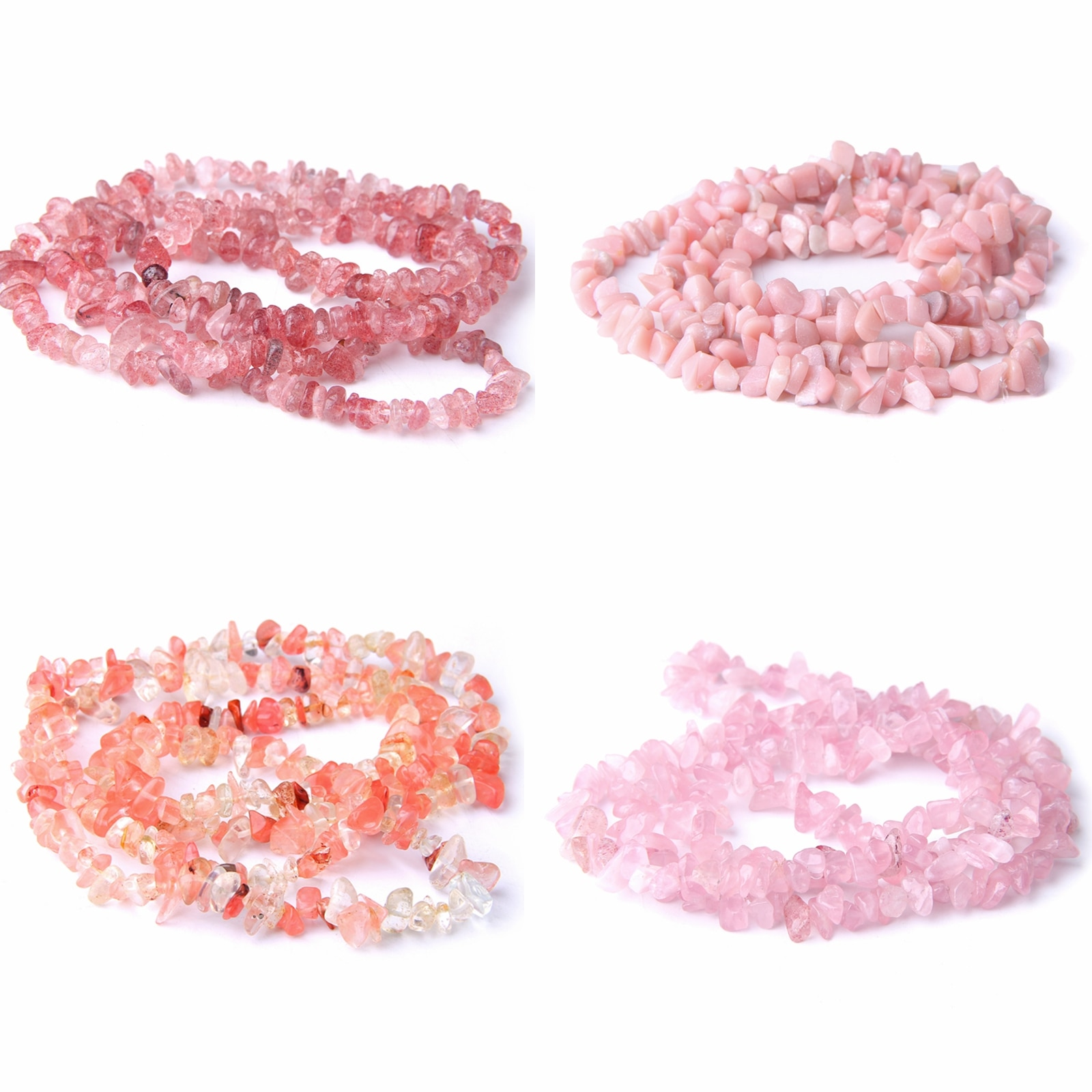 5-8mm Rose Crystal Chips Beads Natural Stone Rhodonite Strawberry Quartz Nuggets For DIY Jewelry Making Appro 16